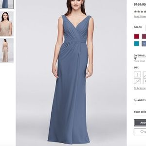 David's Bridal Faux Wrap Pleated Chiffon Dress